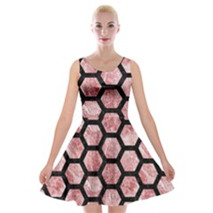 Hexagon2 Black Marble & Red & White Marble (r) Velvet Skater Dress