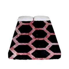 Hexagon2 Black Marble & Red & White Marble Fitted Sheet (full/ Double Size)
