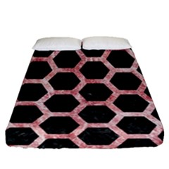 Hexagon2 Black Marble & Red & White Marble Fitted Sheet (queen Size) by trendistuff