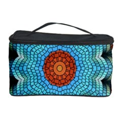 Pattern Blue Brown Background Cosmetic Storage Case by Amaryn4rt