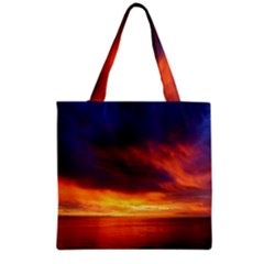 Sunset The Pacific Ocean Evening Grocery Tote Bag by Amaryn4rt