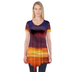 Sunset The Pacific Ocean Evening Short Sleeve Tunic
