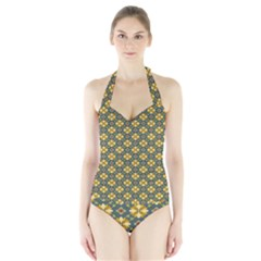 Arabesque Flower Yellow Halter Swimsuit by AnjaniArt
