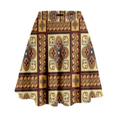 Batik Flower Brown High Waist Skirt