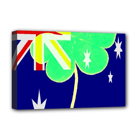 St  Patrick Australia And Ireland Irish Shamrock Australian Country Flag  Deluxe Canvas 18  X 12   by yoursparklingshop