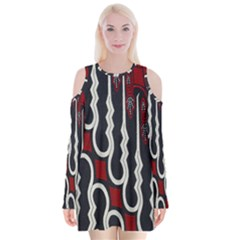 Batik Jogja Red Black Velvet Long Sleeve Shoulder Cutout Dress