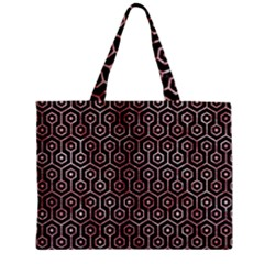 Hexagon1 Black Marble & Red & White Marble Zipper Mini Tote Bag by trendistuff