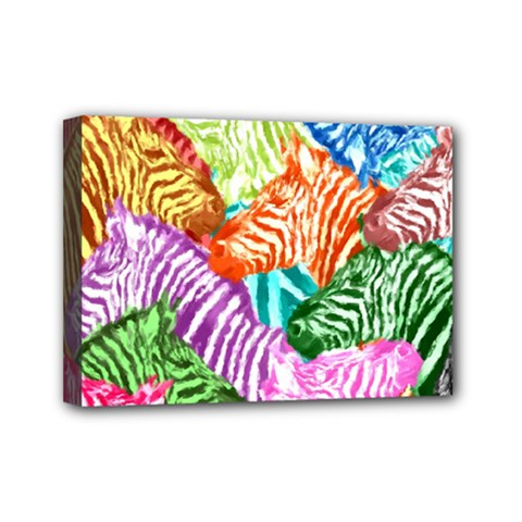 Zebra Colorful Abstract Collage Mini Canvas 7  X 5