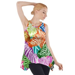 Zebra Colorful Abstract Collage Side Drop Tank Tunic