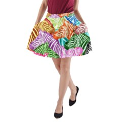 Zebra Colorful Abstract Collage A Line Pocket Skirt