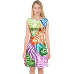 Zebra Colorful Abstract Collage Capsleeve Midi Dress