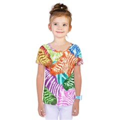 Zebra Colorful Abstract Collage Kids  One Piece Tee