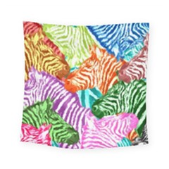 Zebra Colorful Abstract Collage Square Tapestry (small)