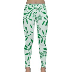 Leaves Foliage Green Wallpaper Classic Yoga Leggings by Amaryn4rt