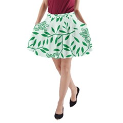 Leaves Foliage Green Wallpaper A-line Pocket Skirt by Amaryn4rt