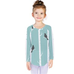 Birds Trees Birch Birch Trees Kids  Long Sleeve Tee