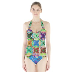 Abstract Pattern Background Design Halter Swimsuit by Amaryn4rt