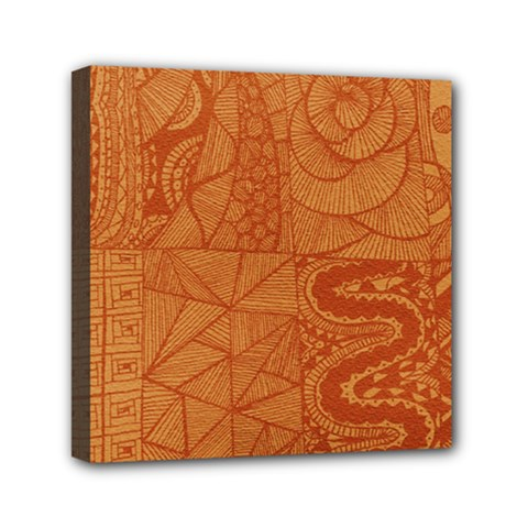 Burnt Amber Orange Brown Abstract Mini Canvas 6  X 6  by Amaryn4rt