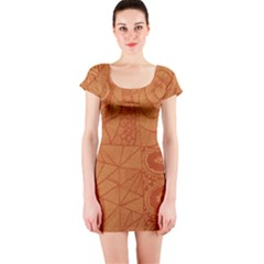 Burnt Amber Orange Brown Abstract Short Sleeve Bodycon Dress