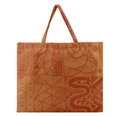 Burnt Amber Orange Brown Abstract Zipper Large Tote Bag