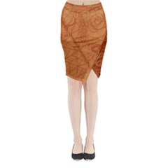 Burnt Amber Orange Brown Abstract Midi Wrap Pencil Skirt by Amaryn4rt