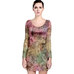 Texture Background Spring Colorful Long Sleeve Velvet Bodycon Dress