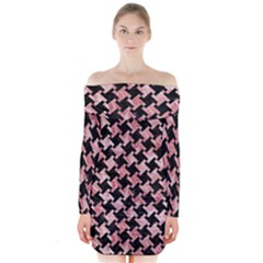 Houndstooth2 Black Marble & Red & White Marble Long Sleeve Off Shoulder Dress by trendistuff
