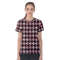 Houndstooth1 Black Marble & Red & White Marble Women s Cotton Tee