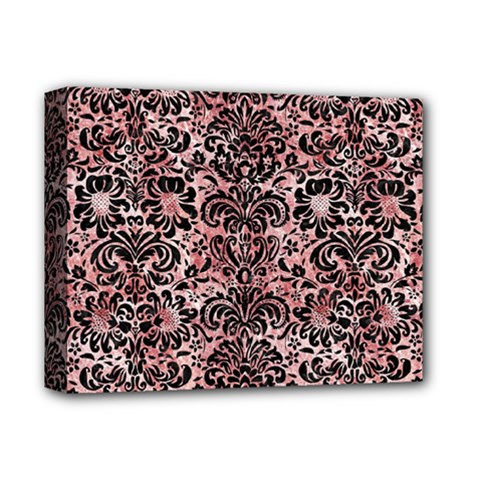 Damask2 Black Marble & Red & White Marble (r) Deluxe Canvas 14  X 11  (stretched) by trendistuff