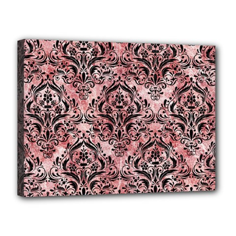 Damask1 Black Marble & Red & White Marble (r) Canvas 16  X 12  (stretched) by trendistuff
