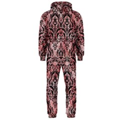 Damask1 Black Marble & Red & White Marble (r) Hooded Jumpsuit (men)