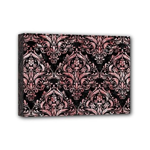 Damask1 Black Marble & Red & White Marble Mini Canvas 7  X 5  (stretched) by trendistuff