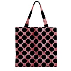 Circles2 Black Marble & Red & White Marble (r) Zipper Grocery Tote Bag by trendistuff