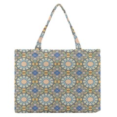 Arabesque Flower Star Medium Zipper Tote Bag by AnjaniArt