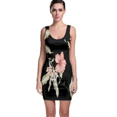 Buds Petals Dark Flower Pink Sleeveless Bodycon Dress