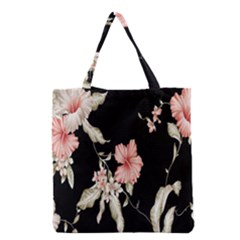 Buds Petals Dark Flower Pink Grocery Tote Bag by AnjaniArt