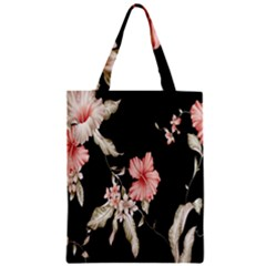 Buds Petals Dark Flower Pink Zipper Classic Tote Bag by AnjaniArt