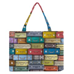 Colored Suitcases Medium Zipper Tote Bag by AnjaniArt