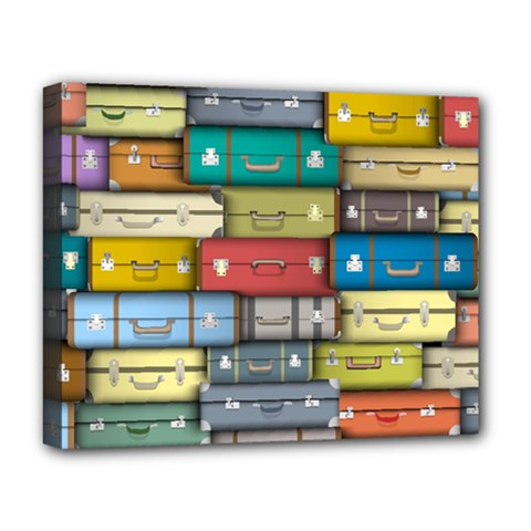 Colored Suitcases Deluxe Canvas 20  X 16   by AnjaniArt
