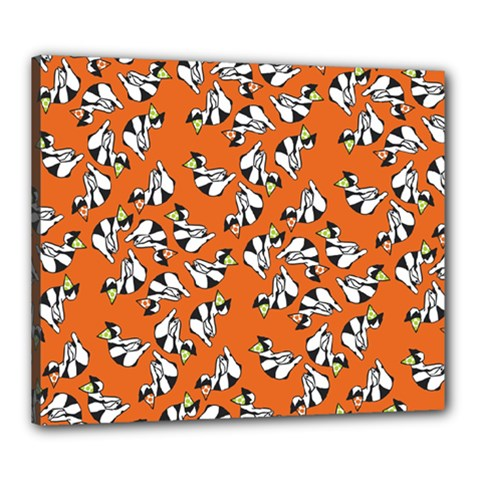 Cat Hat Orange Canvas 24  X 20  by AnjaniArt