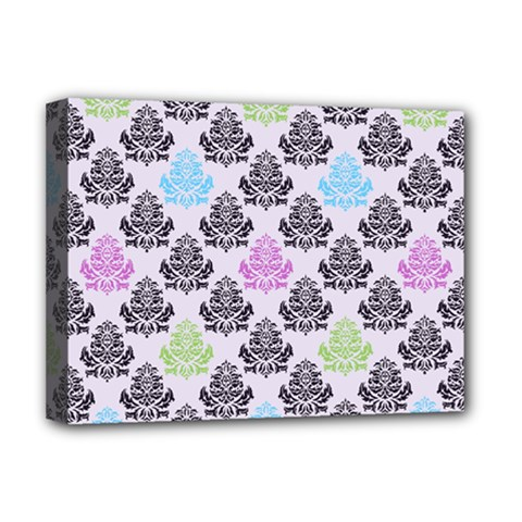 Damask Small Flower Purple Green Blue Black Floral Deluxe Canvas 16  X 12