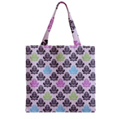 Damask Small Flower Purple Green Blue Black Floral Zipper Grocery Tote Bag by AnjaniArt