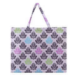 Damask Small Flower Purple Green Blue Black Floral Zipper Large Tote Bag by AnjaniArt