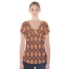 Flower Batik Short Sleeve Front Detail Top by AnjaniArt