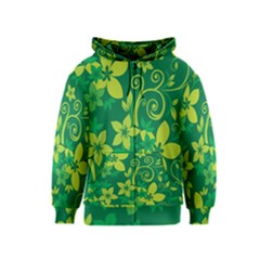 Flower Yellow Green Kids  Zipper Hoodie