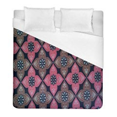 Flower Pink Gray Duvet Cover (full/ Double Size) by AnjaniArt