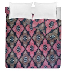 Flower Pink Gray Duvet Cover Double Side (queen Size) by AnjaniArt