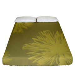 Flower Yelow Fitted Sheet (queen Size) by AnjaniArt