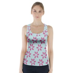 Flowers Fushias On Blue Sky Racer Back Sports Top