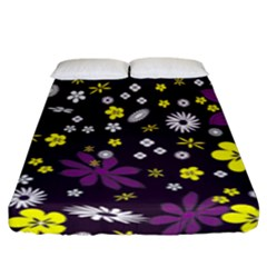 Floral Purple Flower Yellow Fitted Sheet (king Size)